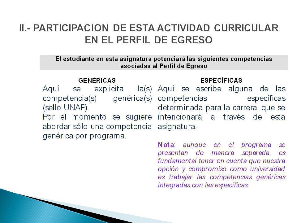 II.- PARTICIPACION DE ESTA ACTIVIDAD CURRICULAR EN EL PERFIL DE EGRESO