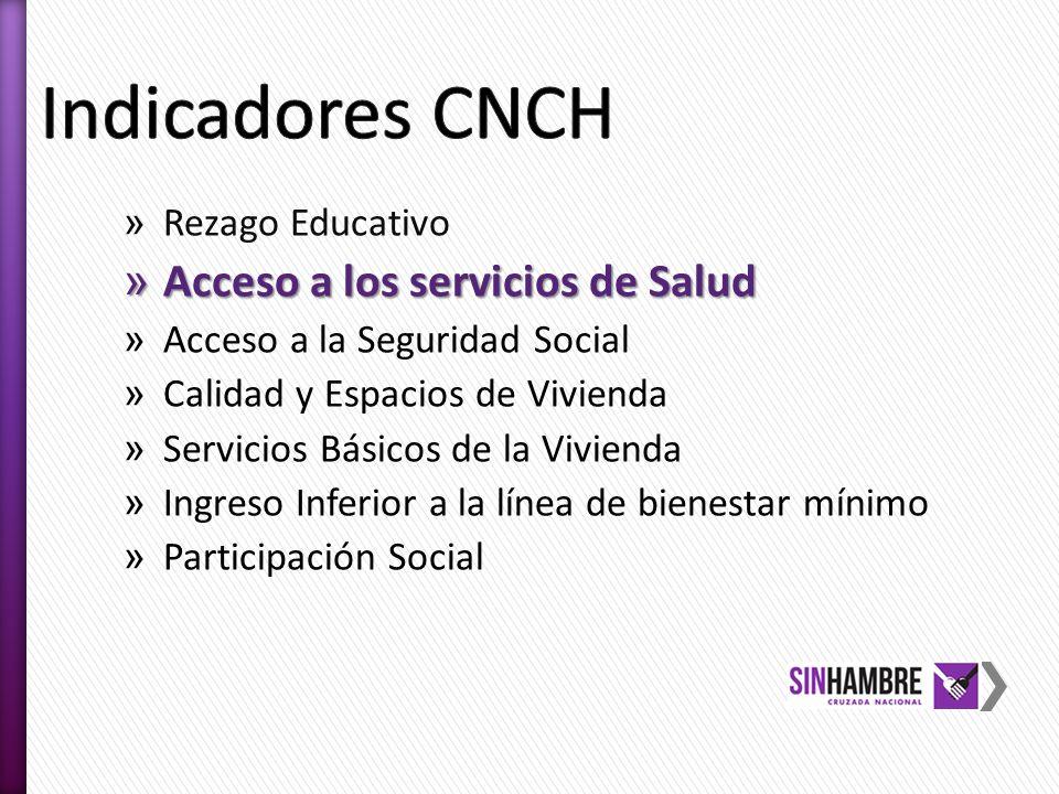 Indicadores CNCH Acceso a los servicios de Salud Rezago Educativo