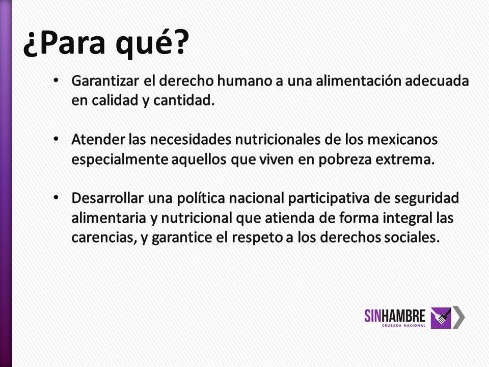 ¿Para qué Garantizar el derecho humano a una alimentación adecuada en calidad y cantidad.