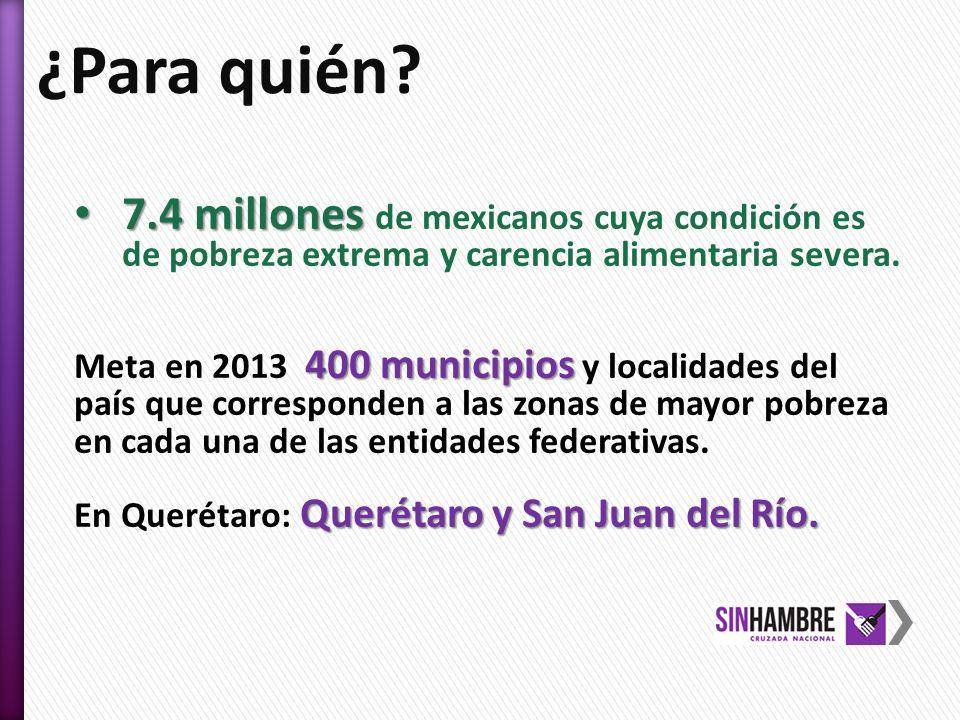 ¿Para quién 7.4 millones de mexicanos cuya condición es de pobreza extrema y carencia alimentaria severa.