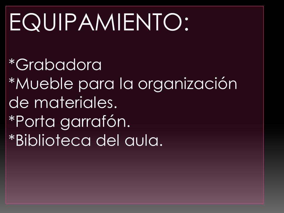 EQUIPAMIENTO: *Grabadora *Mueble para la organización de materiales.