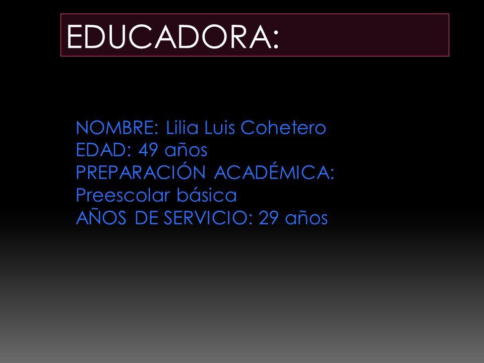EDUCADORA: NOMBRE: Lilia Luis Cohetero EDAD: 49 años