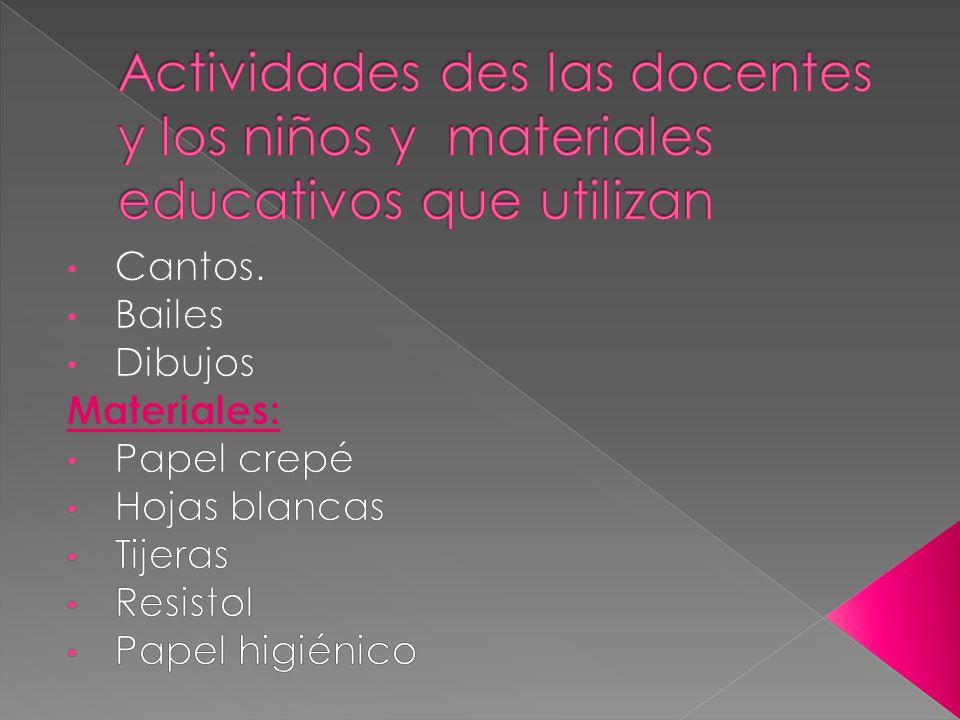 Actividades des las docentes y los niños y materiales educativos que utilizan