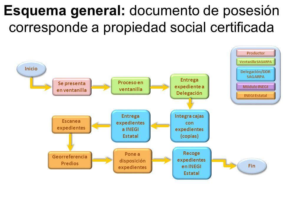 Esquema general: documento de posesión corresponde a propiedad social certificada