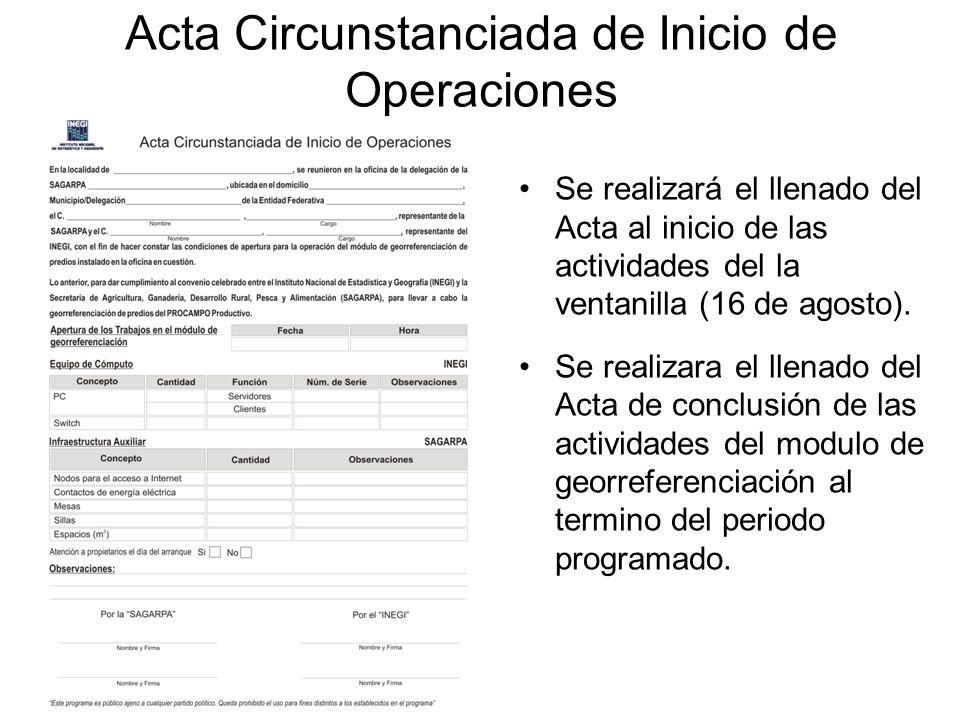 Acta Circunstanciada de Inicio de Operaciones