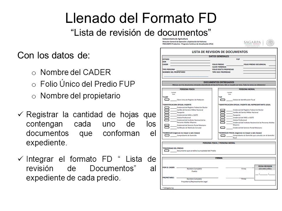 Llenado del Formato FD Lista de revisión de documentos