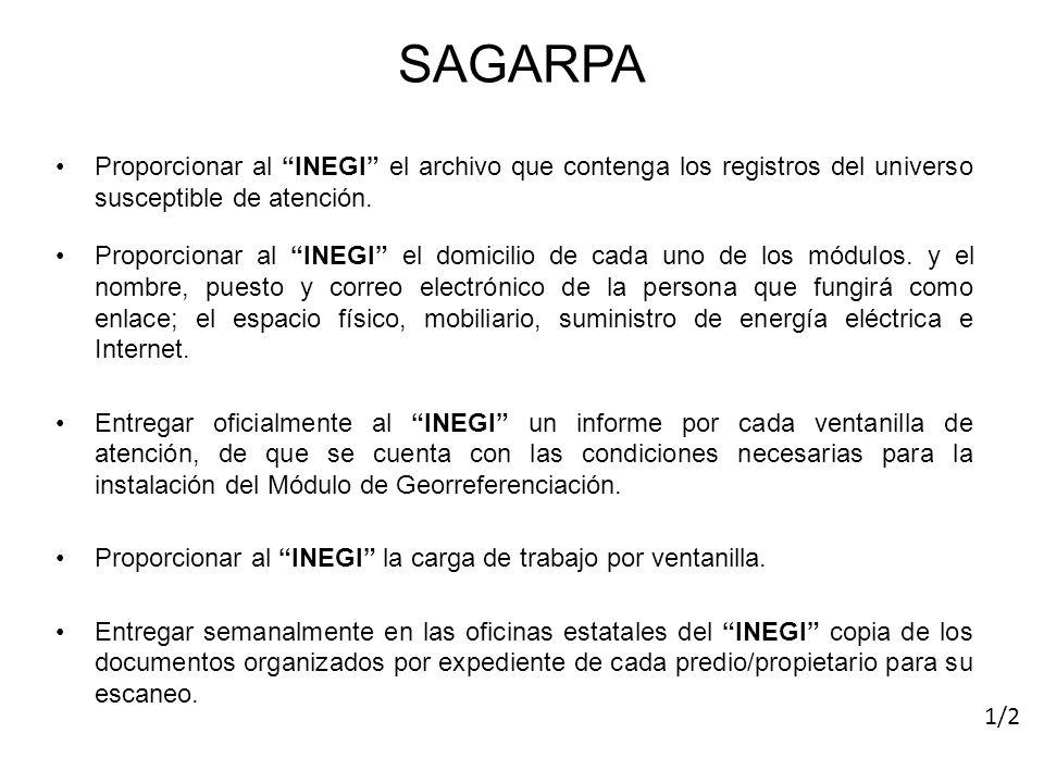 SAGARPA Proporcionar al INEGI el archivo que contenga los registros del universo susceptible de atención.