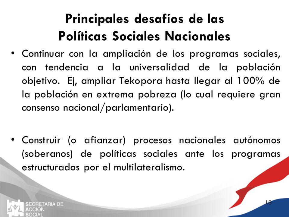 Principales desafíos de las Políticas Sociales Nacionales