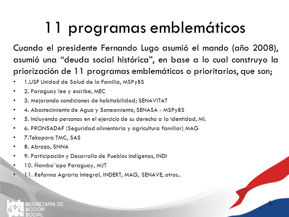 11 programas emblemáticos