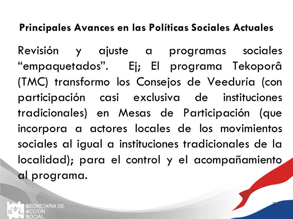 Principales Avances en las Políticas Sociales Actuales