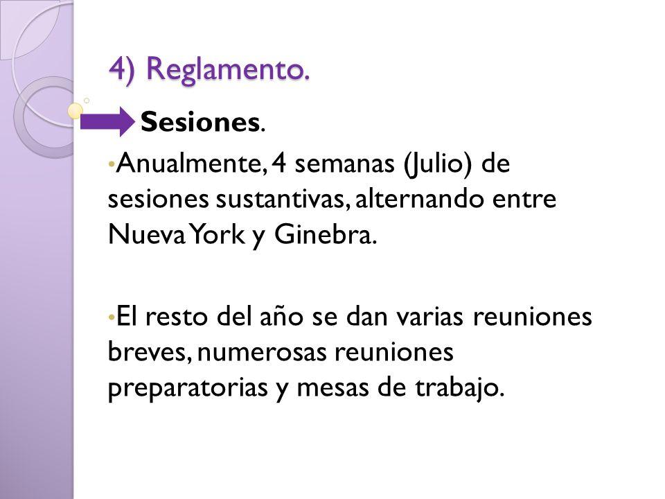 4) Reglamento. Sesiones. Anualmente, 4 semanas (Julio) de sesiones sustantivas, alternando entre Nueva York y Ginebra.