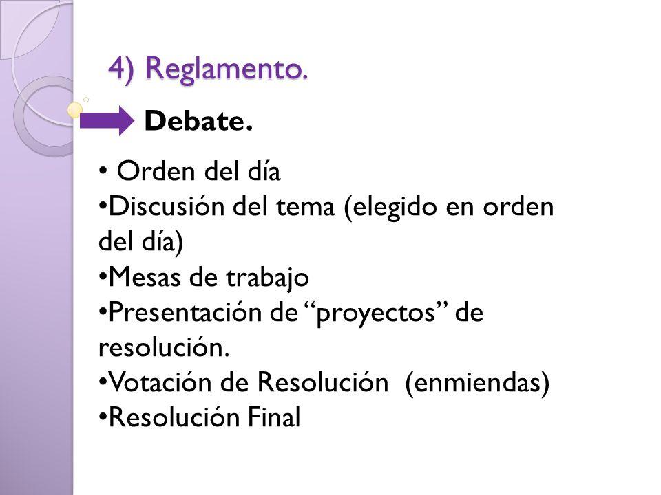 4) Reglamento. Debate. Orden del día