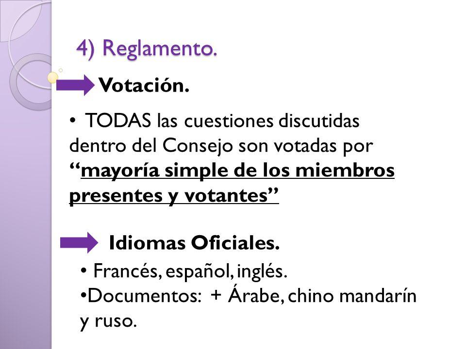 4) Reglamento. Votación. TODAS las cuestiones discutidas dentro del Consejo son votadas por mayoría simple de los miembros presentes y votantes