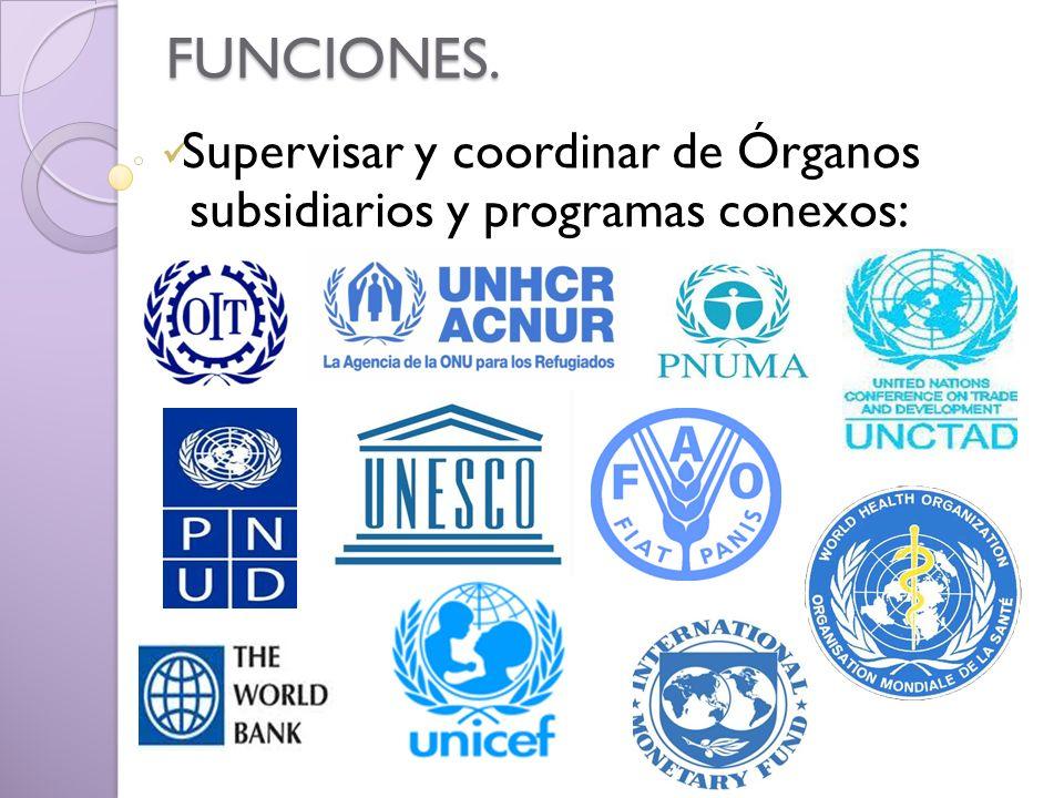 Supervisar y coordinar de Órganos subsidiarios y programas conexos: