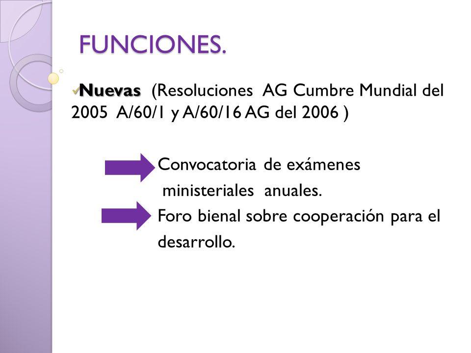 FUNCIONES. Nuevas (Resoluciones AG Cumbre Mundial del 2005 A/60/1 y A/60/16 AG del 2006 ) Convocatoria de exámenes.