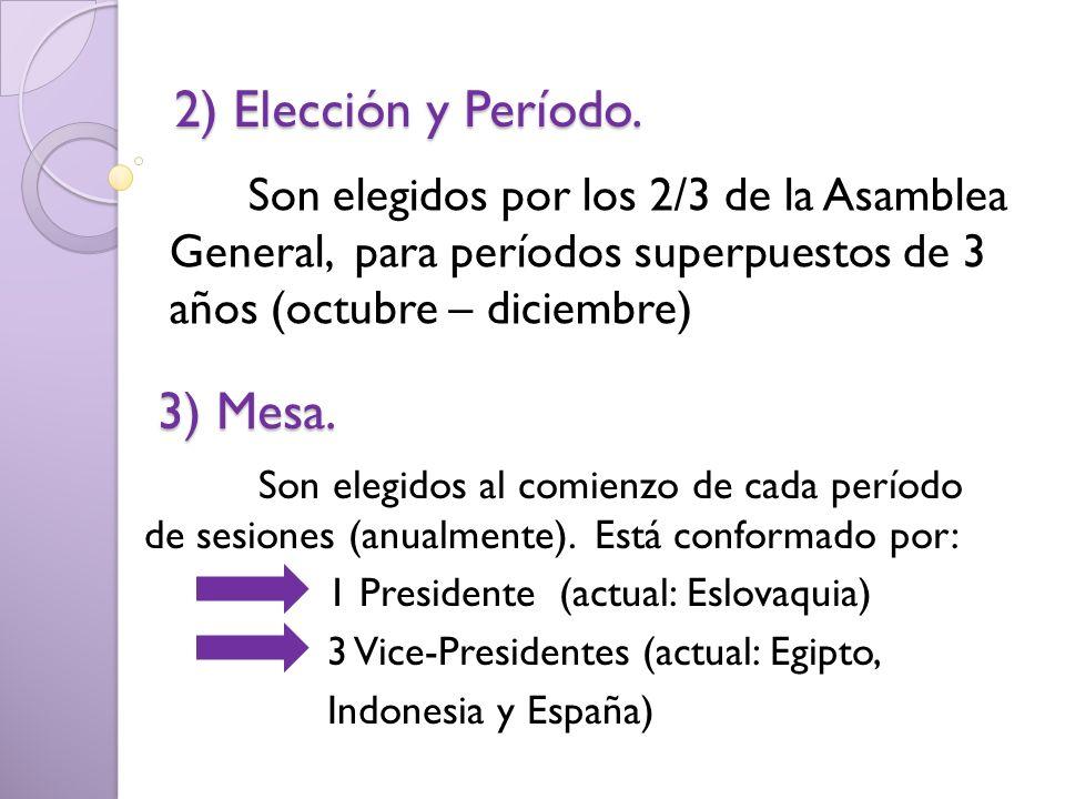 2) Elección y Período. 3) Mesa.
