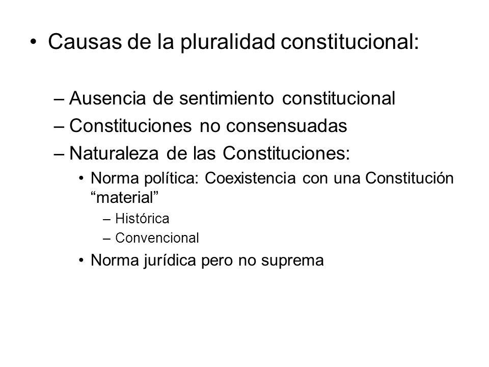 Causas de la pluralidad constitucional: