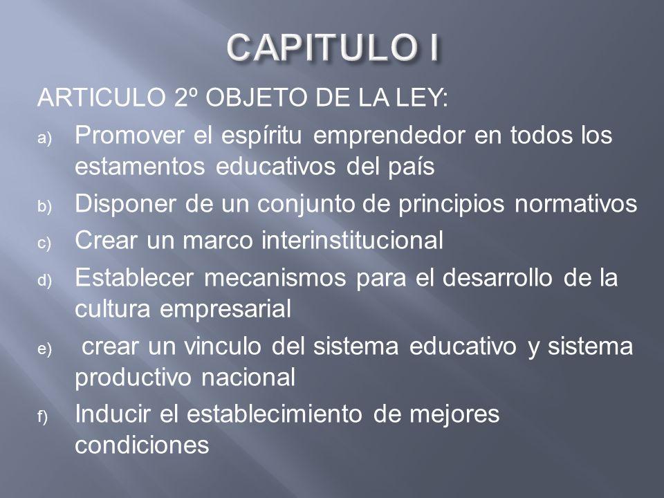 CAPITULO I ARTICULO 2º OBJETO DE LA LEY: