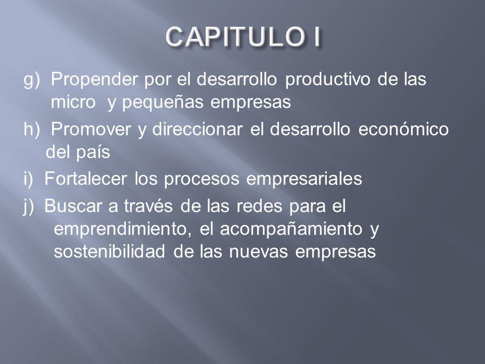 CAPITULO I g) Propender por el desarrollo productivo de las micro y pequeñas empresas. h) Promover y direccionar el desarrollo económico del país.