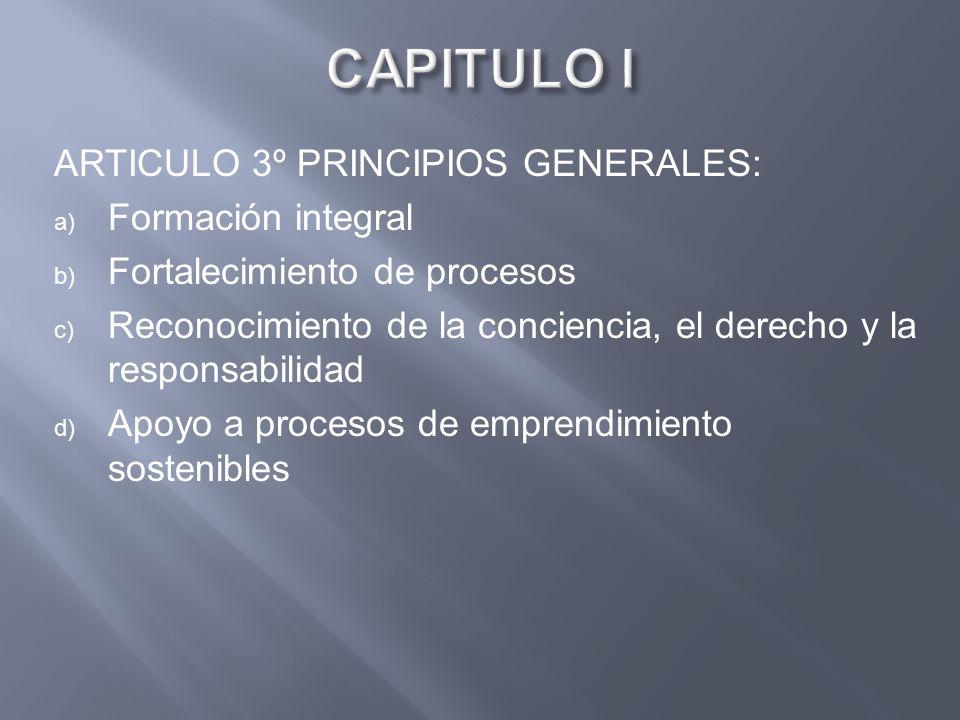 CAPITULO I ARTICULO 3º PRINCIPIOS GENERALES: Formación integral