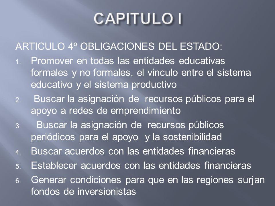 CAPITULO I ARTICULO 4º OBLIGACIONES DEL ESTADO: