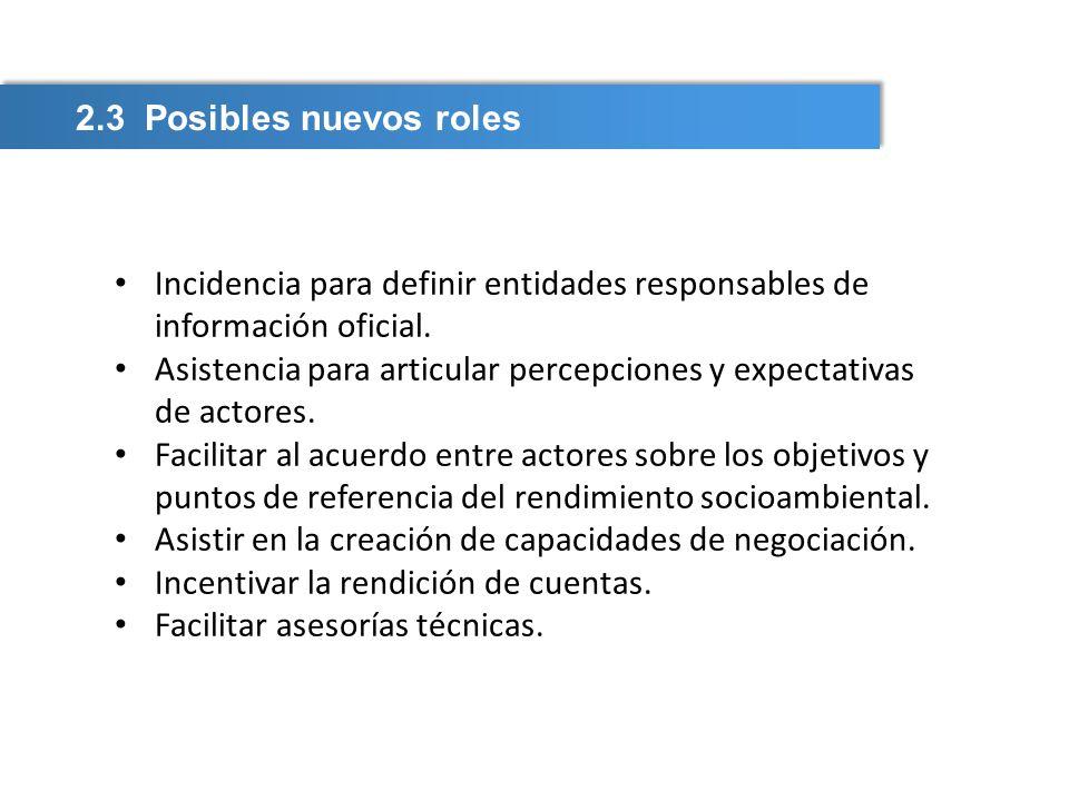 2.3 Posibles nuevos roles Incidencia para definir entidades responsables de información oficial.
