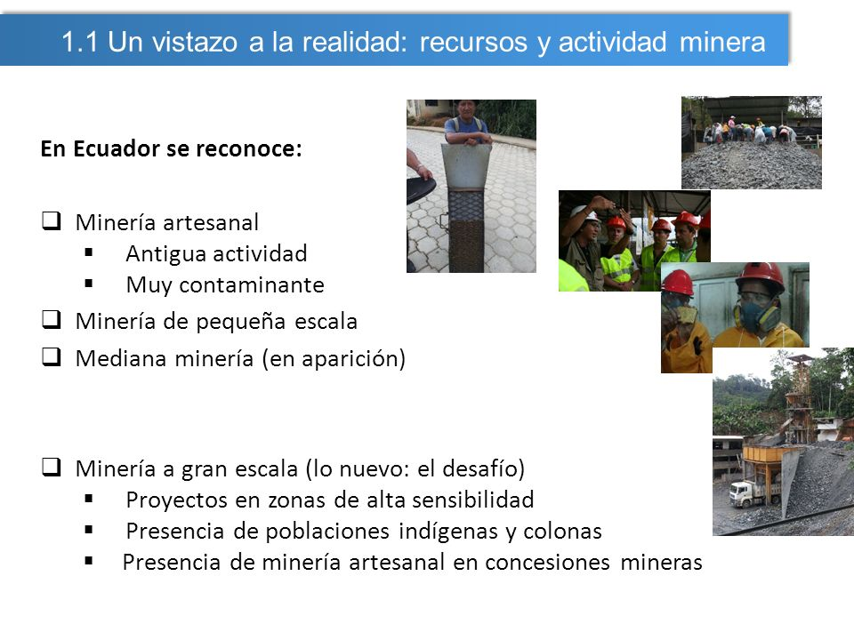 1.1 Un vistazo a la realidad: recursos y actividad minera