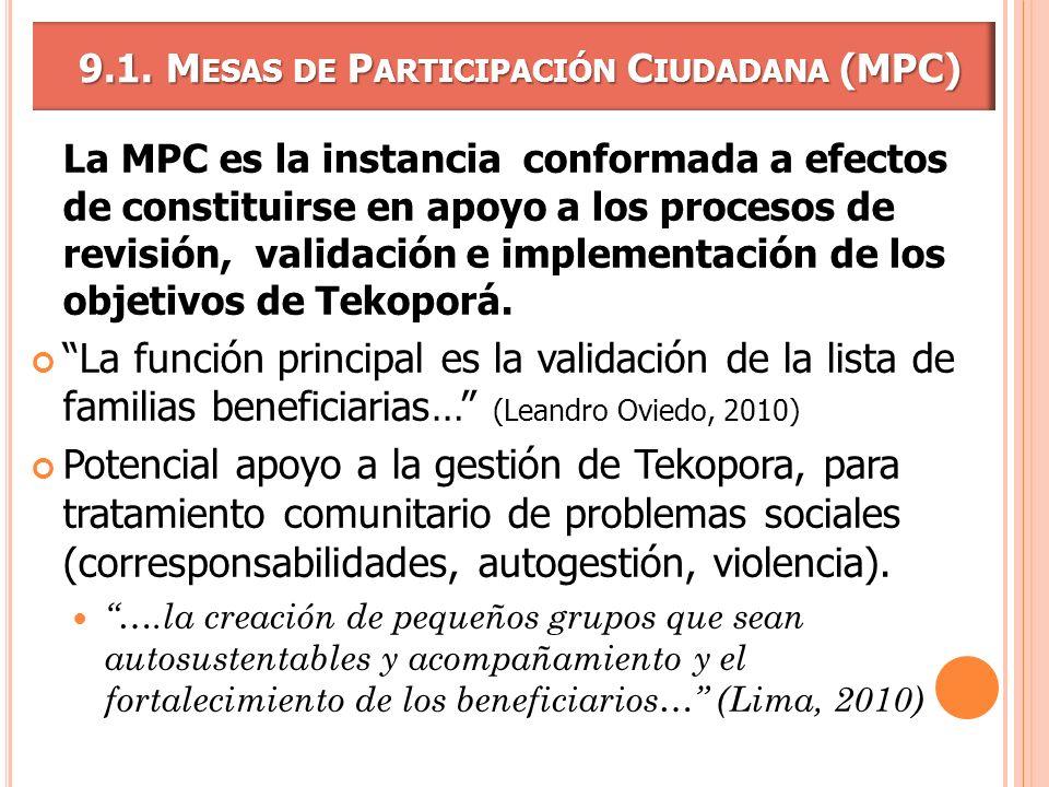 9.1. Mesas de Participación Ciudadana (MPC)