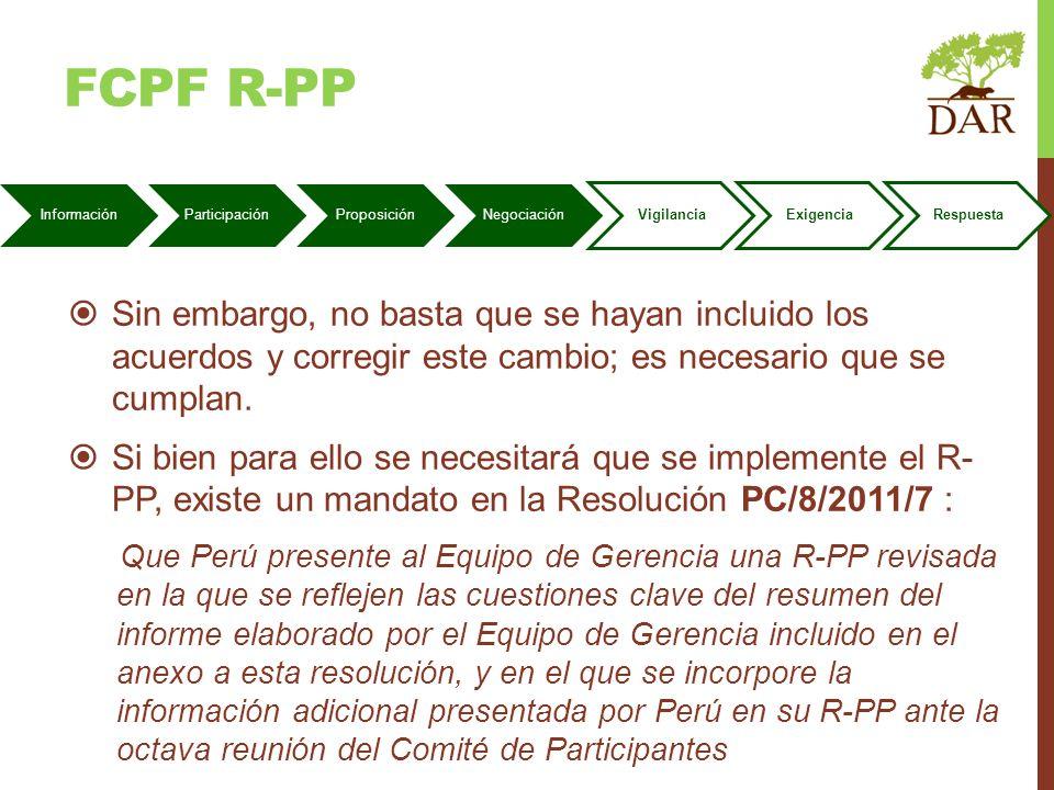 FCPF r-pP Información. Participación. Proposición. Negociación. Vigilancia. Exigencia. Respuesta.