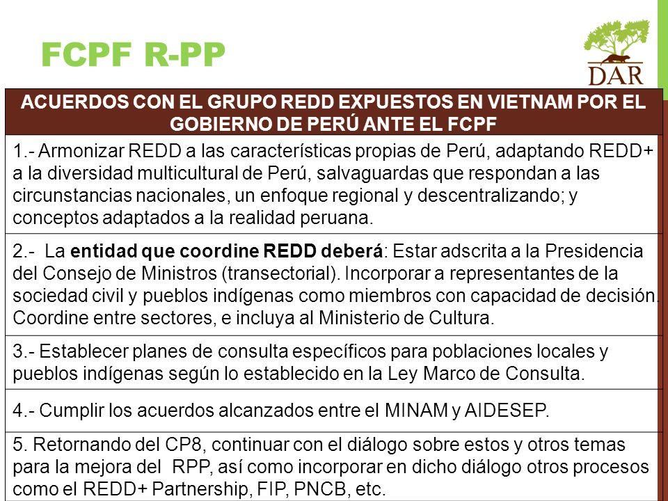 FCPF r-PP ACUERDOS CON EL GRUPO REDD EXPUESTOS EN VIETNAM POR EL GOBIERNO DE PERÚ ANTE EL FCPF.