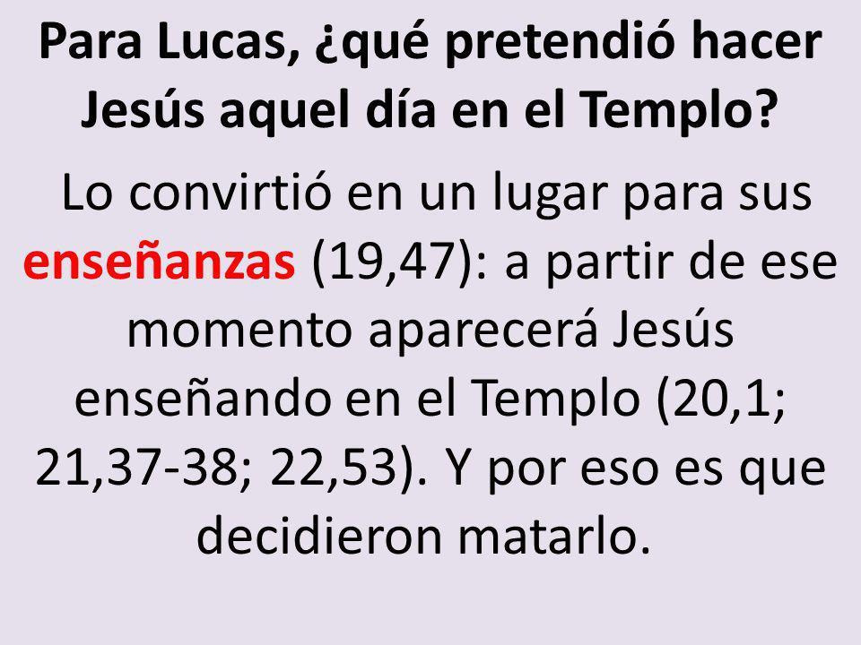 Para Lucas, ¿qué pretendió hacer Jesús aquel día en el Templo