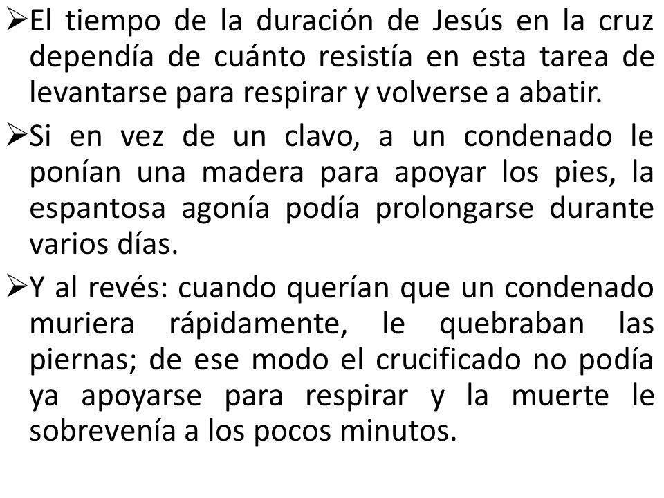 El tiempo de la duración de Jesús en la cruz dependía de cuánto resistía en esta tarea de levantarse para respirar y volverse a abatir.