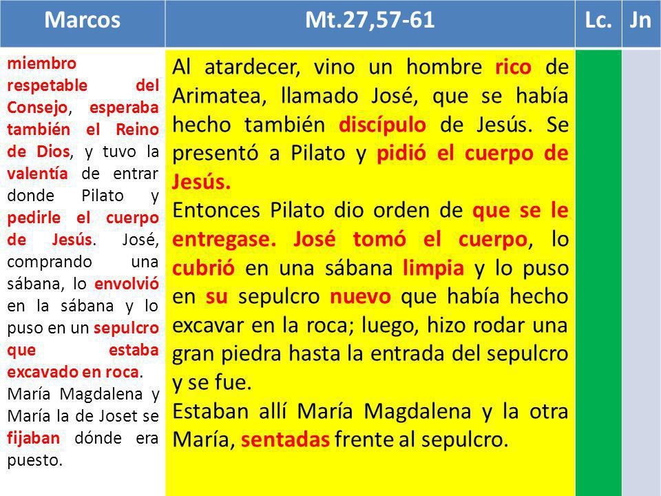 Marcos Mt.27,57-61. Lc. Jn.