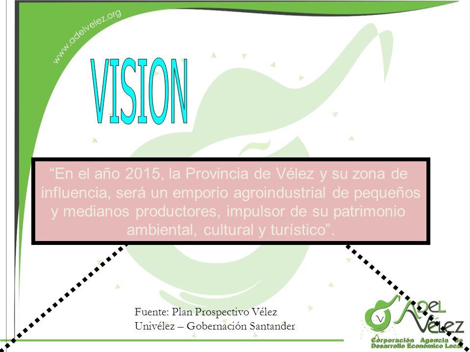 VISION En el año 2015, la Provincia de Vélez y su zona de