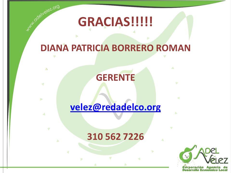 DIANA PATRICIA BORRERO ROMAN GERENTE velez@redadelco.org 310 562 7226