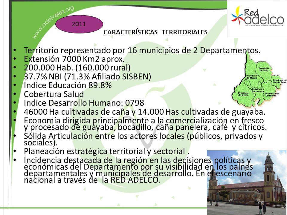Territorio representado por 16 municipios de 2 Departamentos.