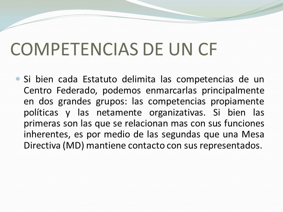 COMPETENCIAS DE UN CF