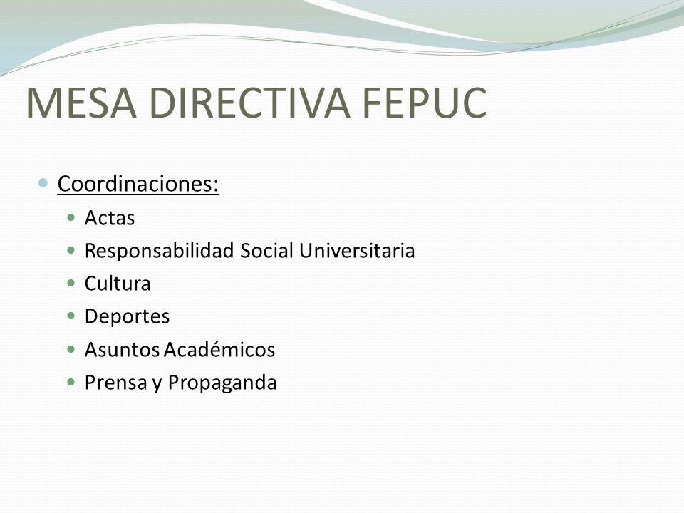 MESA DIRECTIVA FEPUC Coordinaciones: Actas
