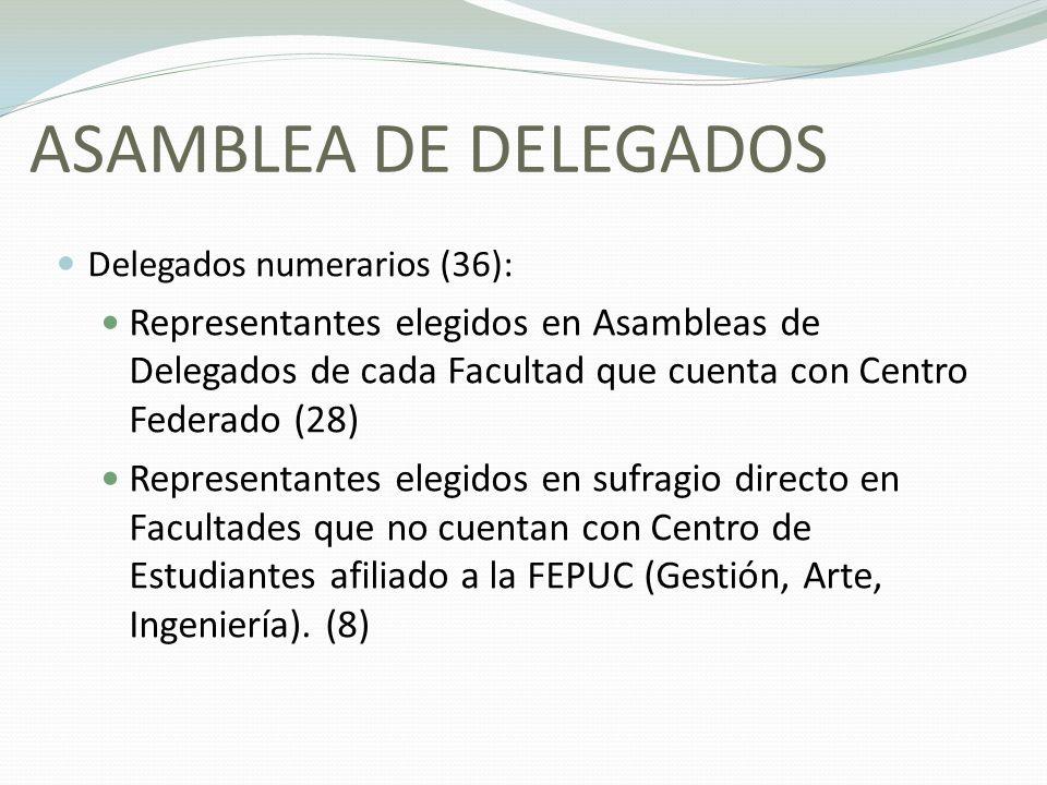 ASAMBLEA DE DELEGADOS Delegados numerarios (36):