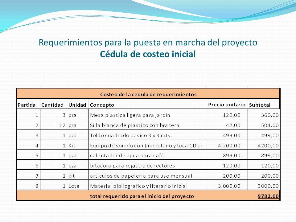 Requerimientos para la puesta en marcha del proyecto Cédula de costeo inicial