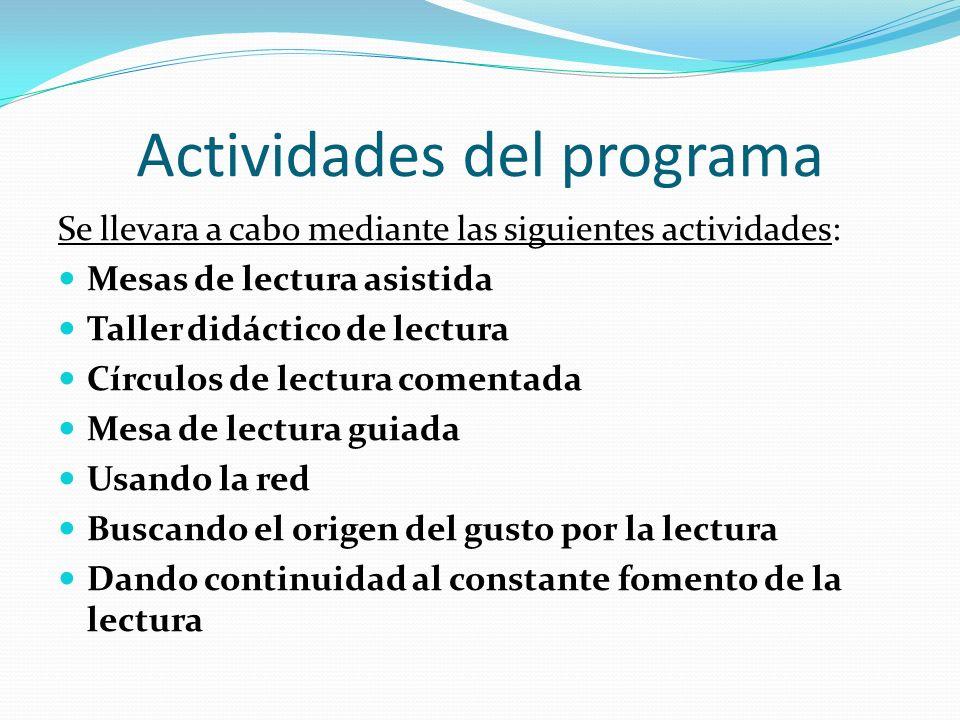 Actividades del programa