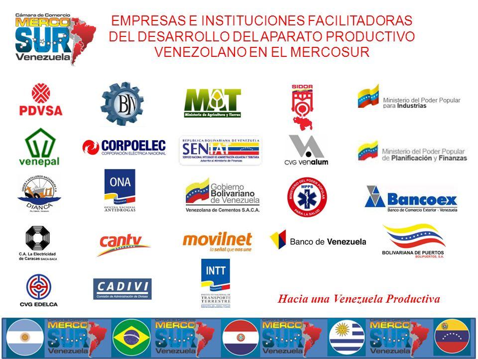 EMPRESAS E INSTITUCIONES FACILITADORAS DEL DESARROLLO DEL APARATO PRODUCTIVO VENEZOLANO EN EL MERCOSUR