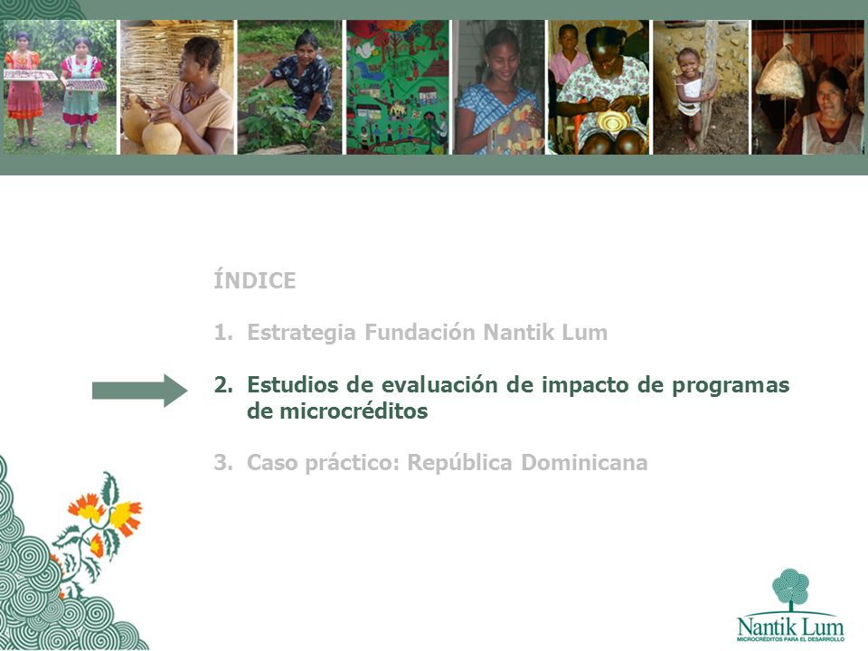 ÍNDICE Estrategia Fundación Nantik Lum. Estudios de evaluación de impacto de programas de microcréditos.
