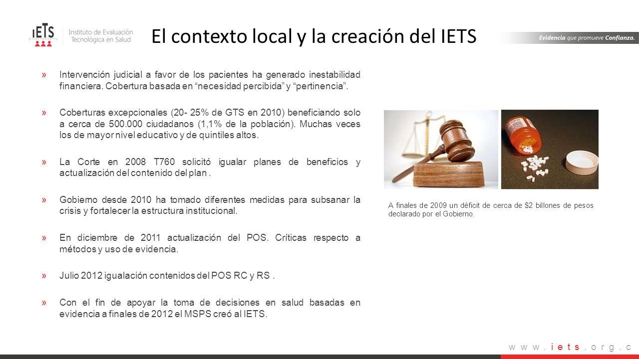 El contexto local y la creación del IETS