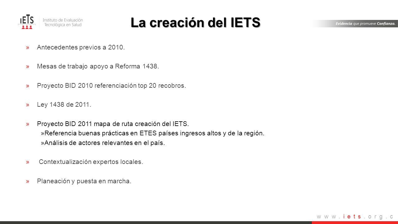 La creación del IETS Antecedentes previos a 2010.