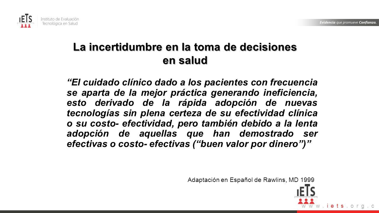 La incertidumbre en la toma de decisiones en salud