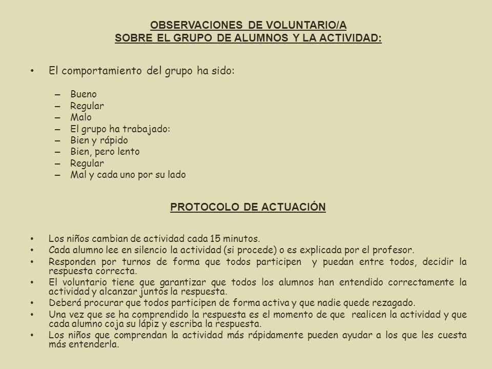 OBSERVACIONES DE VOLUNTARIO/A