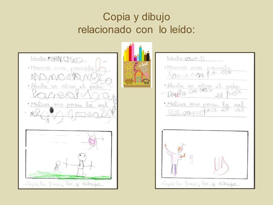 Copia y dibujo relacionado con lo leído: