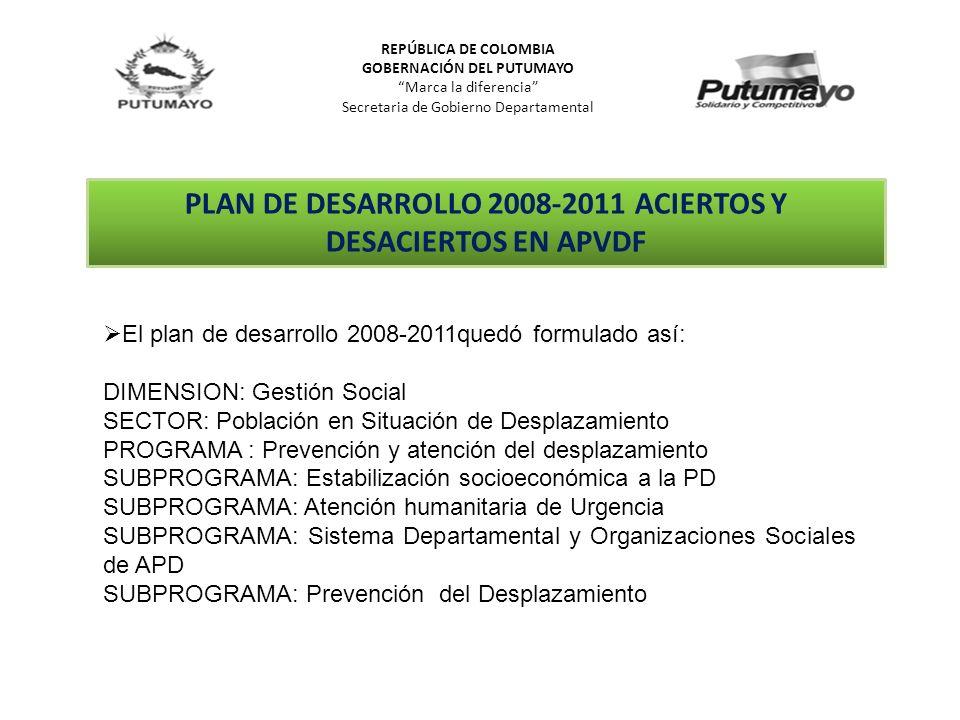 PLAN DE DESARROLLO 2008-2011 ACIERTOS Y DESACIERTOS EN APVDF