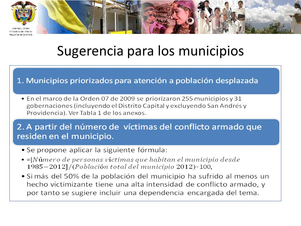 Sugerencia para los municipios